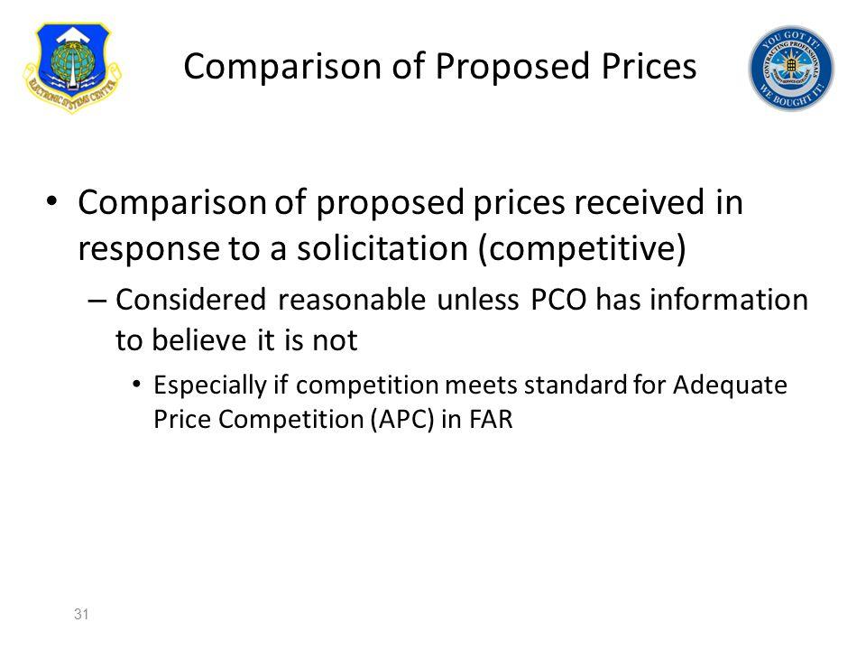 Comparison of Proposed Prices
