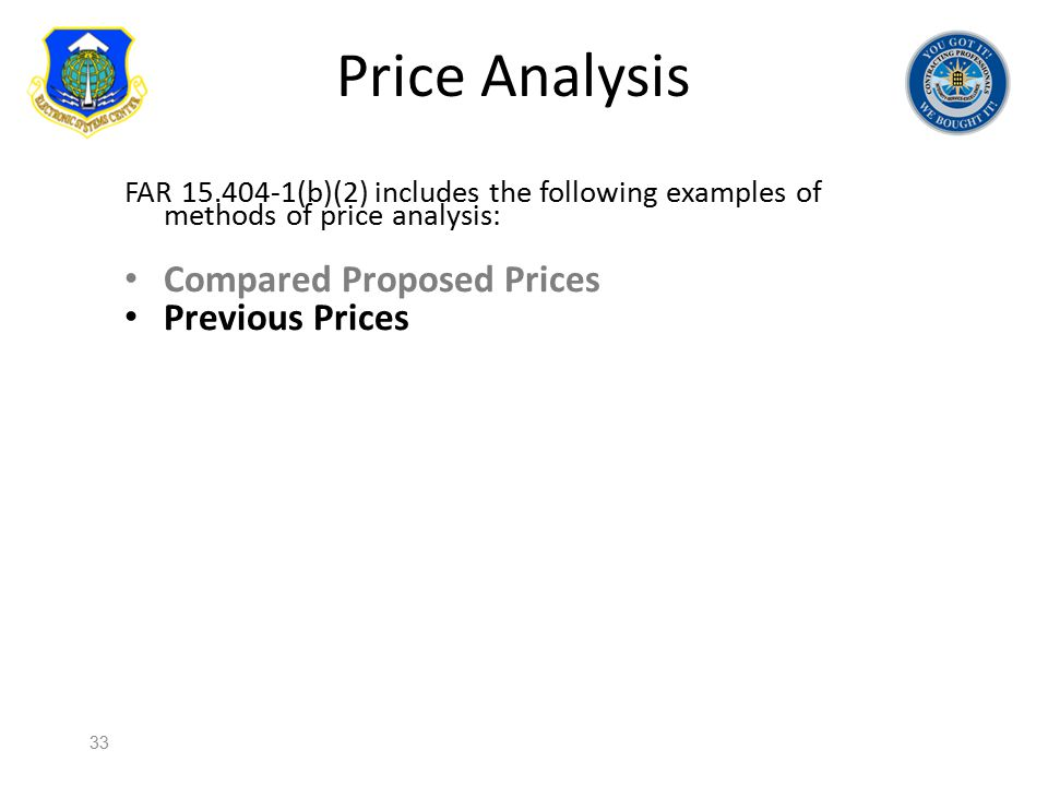 Price Analysis Compared Proposed Prices Previous Prices