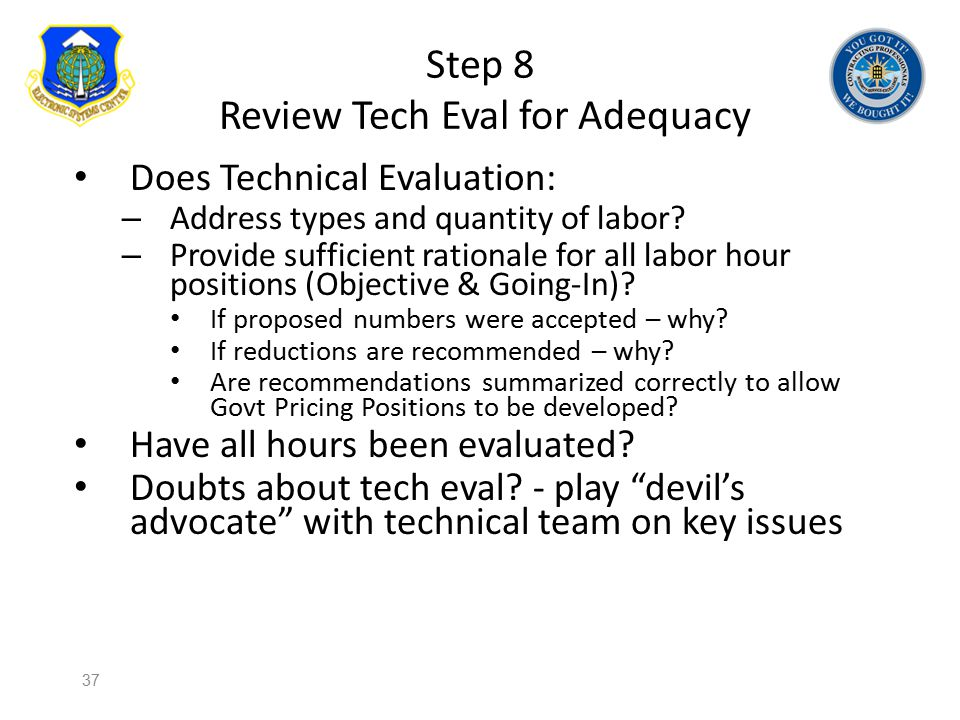Step 8 Review Tech Eval for Adequacy