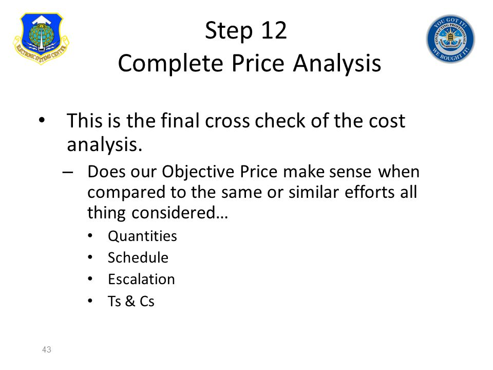 Step 12 Complete Price Analysis