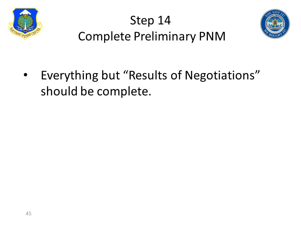 Step 14 Complete Preliminary PNM