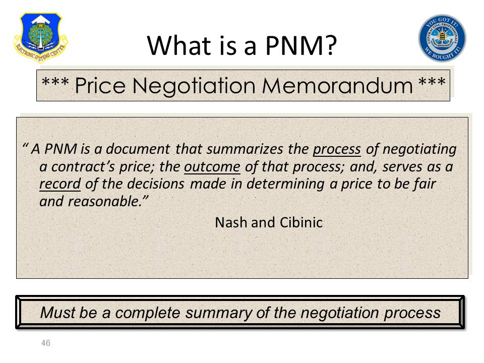 Must be a complete summary of the negotiation process