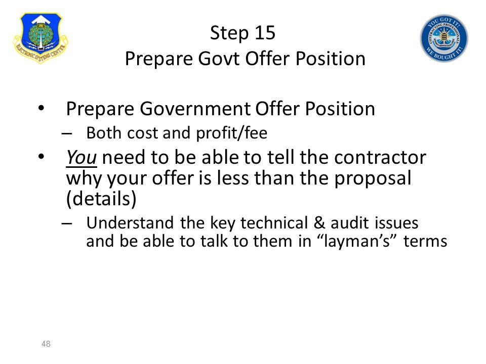 Step 15 Prepare Govt Offer Position
