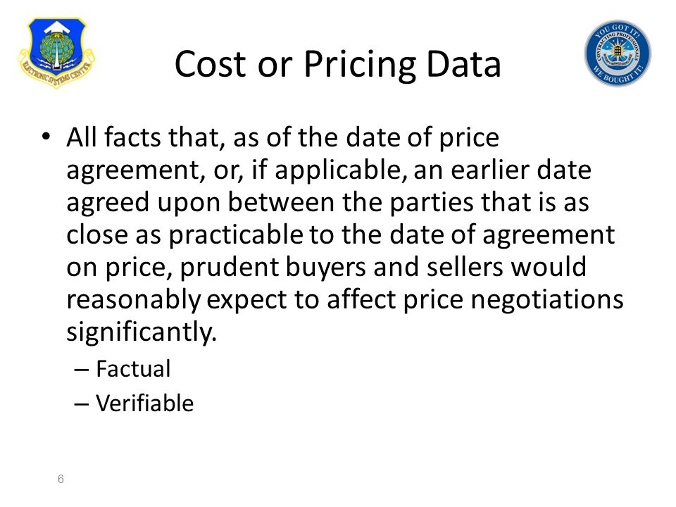 Cost or Pricing Data