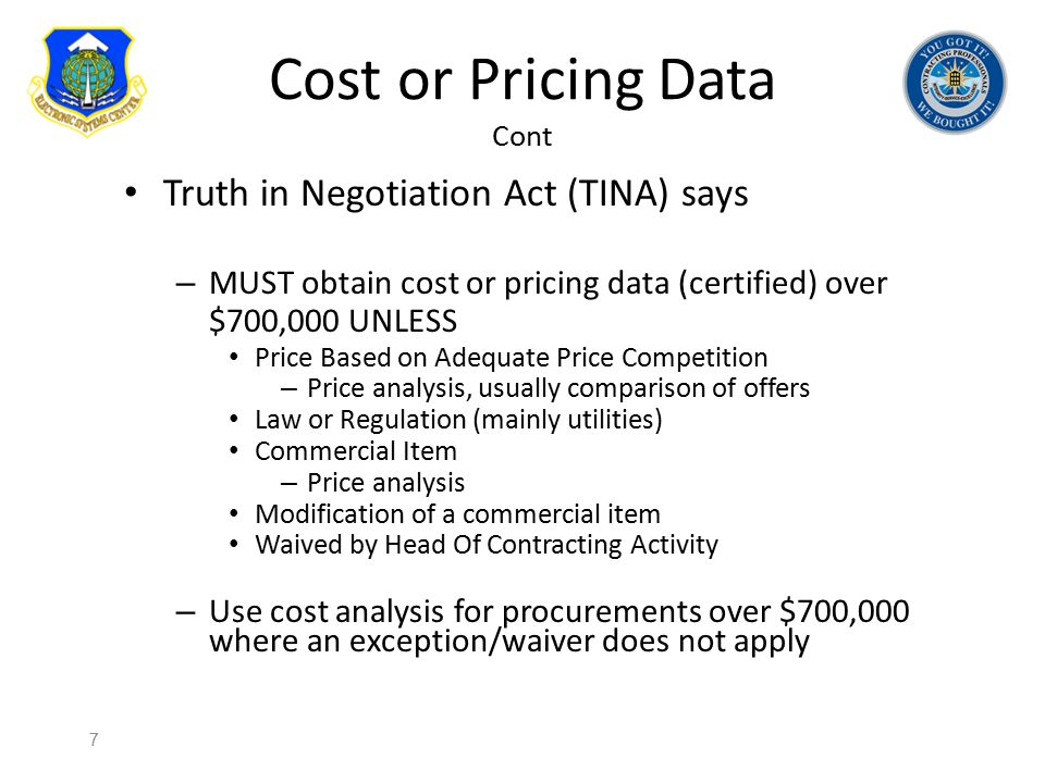 Cost or Pricing Data Cont