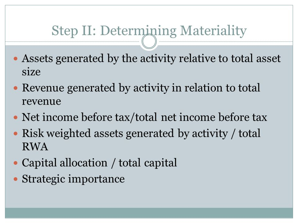 Step II: Determining Materiality