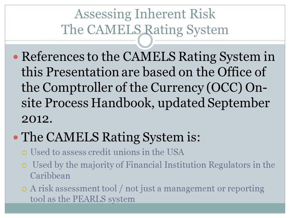 Assessing Inherent Risk The CAMELS Rating System
