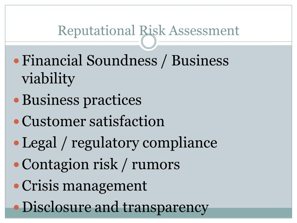 Reputational Risk Assessment