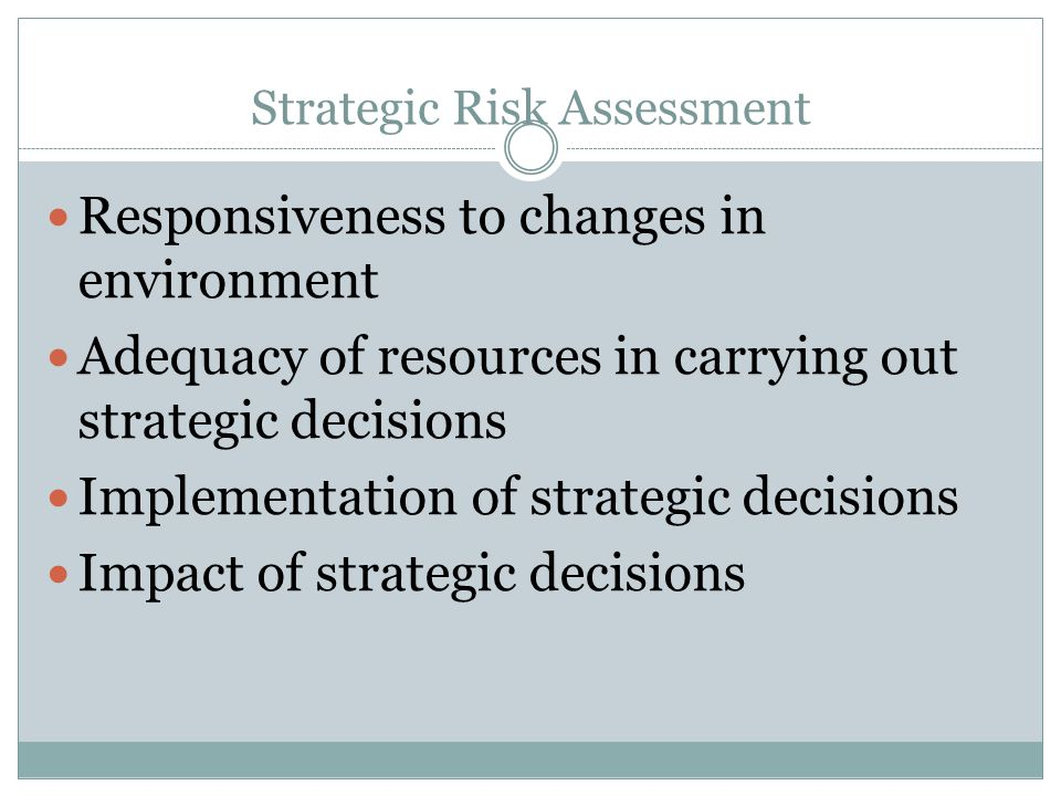 Strategic Risk Assessment