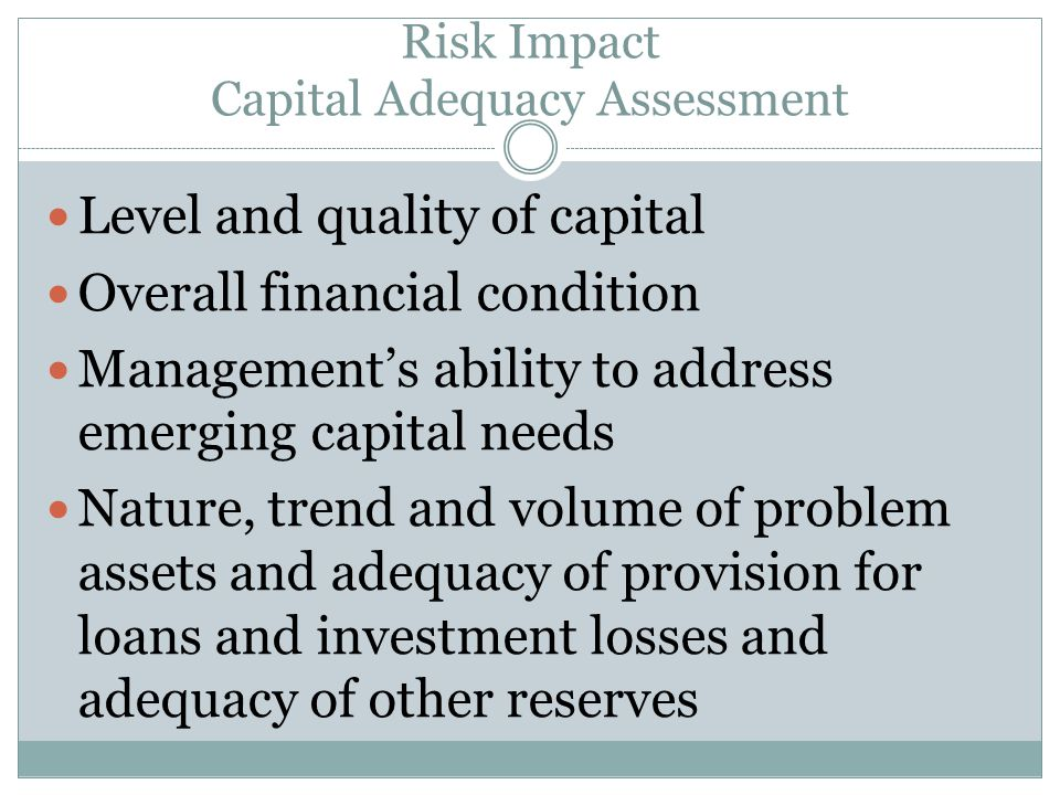 Risk Impact Capital Adequacy Assessment