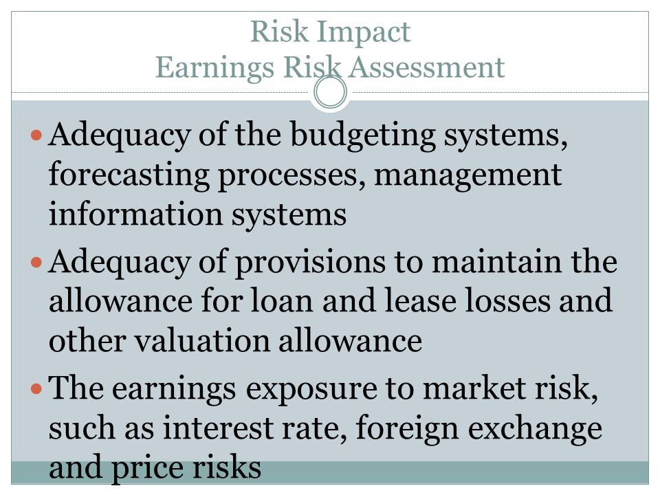 Risk Impact Earnings Risk Assessment