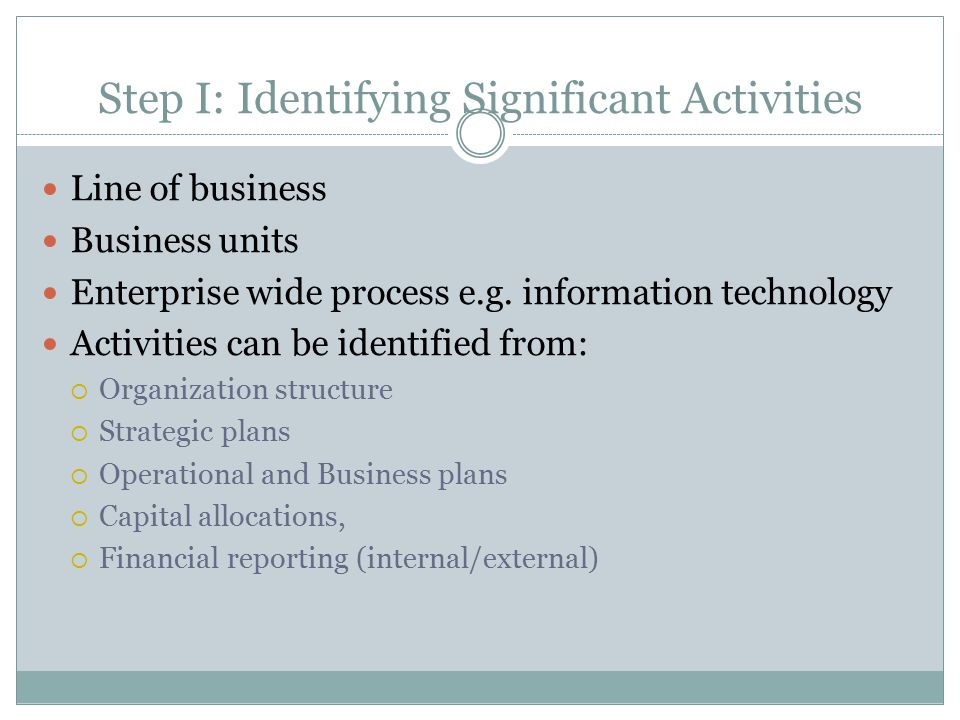 Step I: Identifying Significant Activities