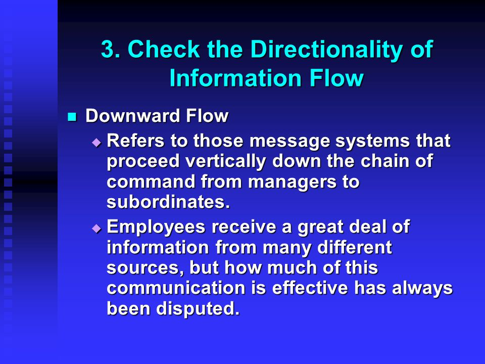 3. Check the Directionality of Information Flow