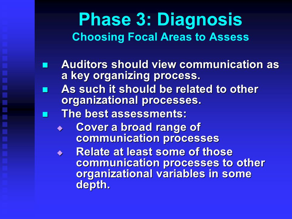 Phase 3: Diagnosis Choosing Focal Areas to Assess