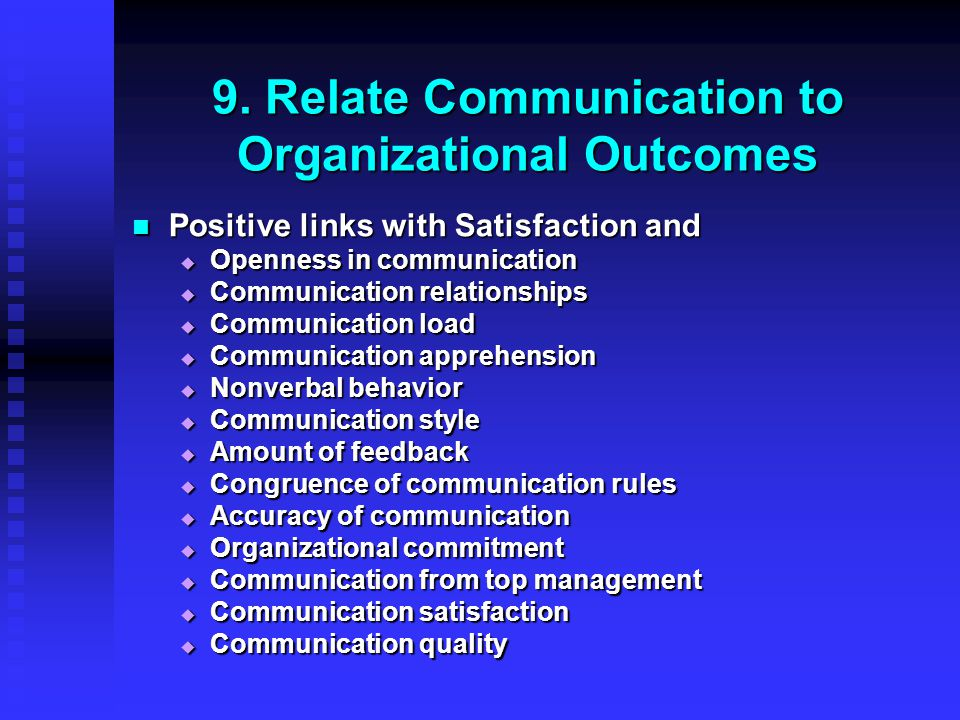 9. Relate Communication to Organizational Outcomes