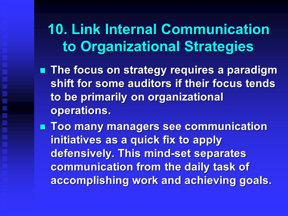 10. Link Internal Communication to Organizational Strategies