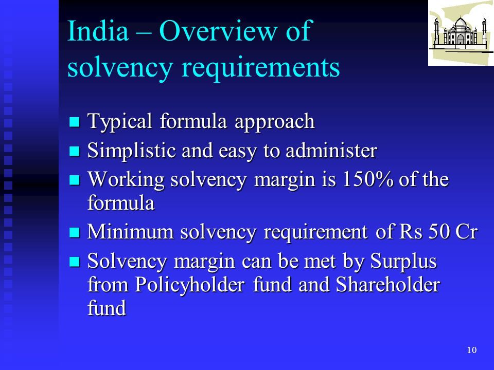 India – Overview of solvency requirements