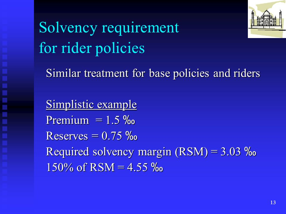 Solvency requirement for rider policies