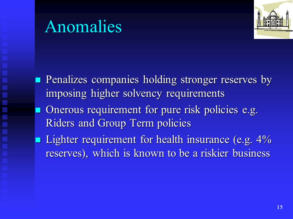 Anomalies Penalizes companies holding stronger reserves by imposing higher solvency requirements.