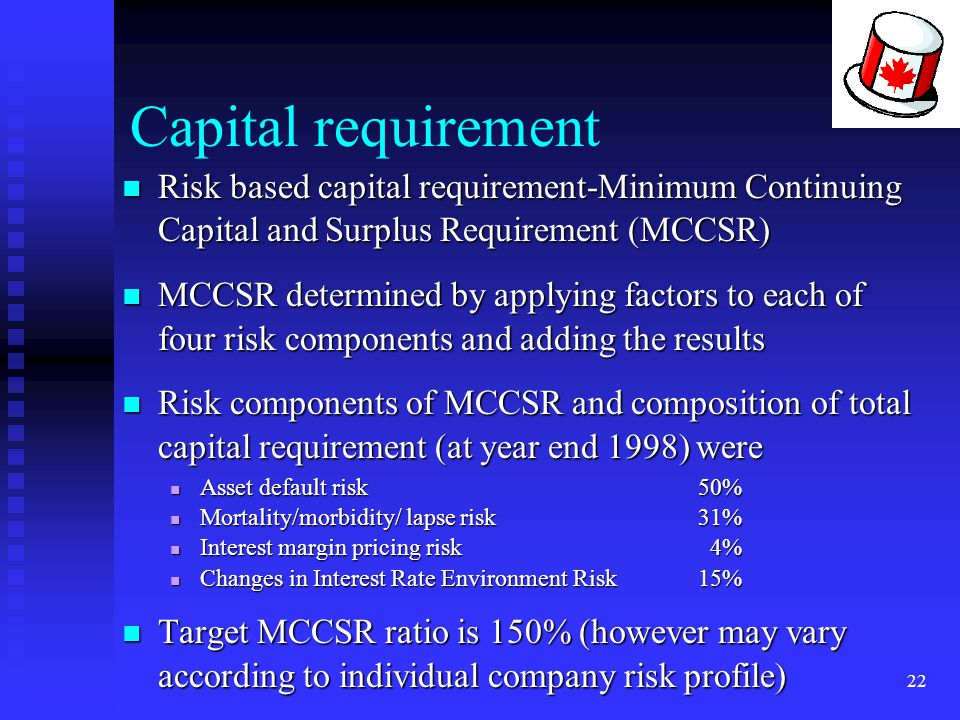 Capital requirement Risk based capital requirement-Minimum Continuing Capital and Surplus Requirement (MCCSR)