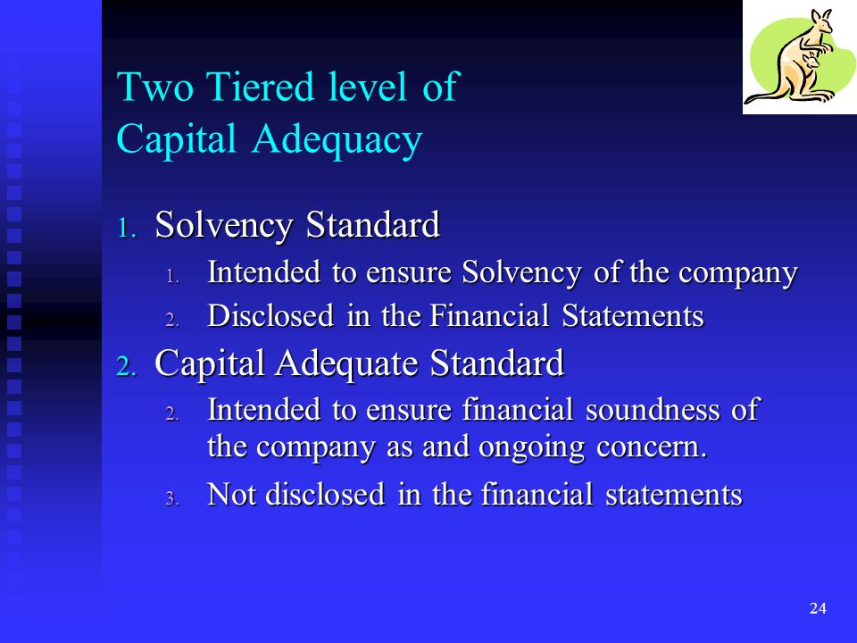 Two Tiered level of Capital Adequacy