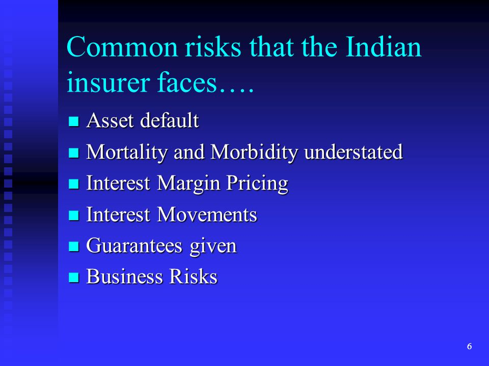 Common risks that the Indian insurer faces….