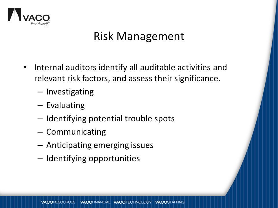 Risk Management Internal auditors identify all auditable activities and relevant risk factors, and assess their significance.