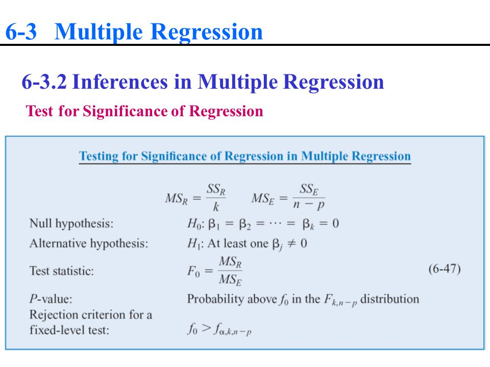 6-3 Multiple Regression Inferences in Multiple Regression