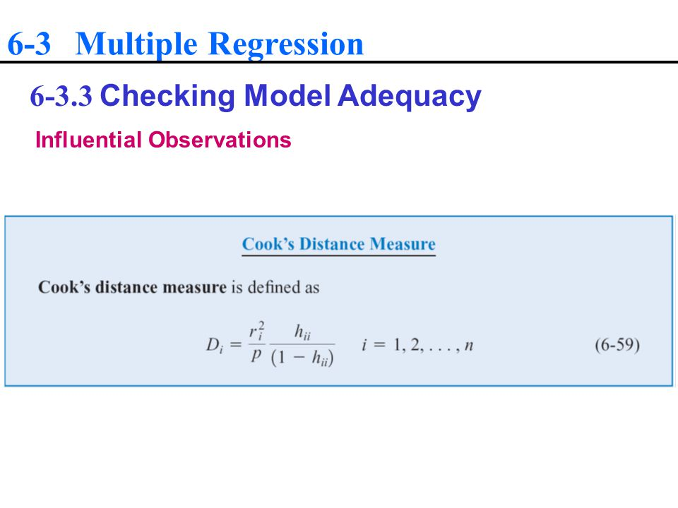 6-3 Multiple Regression Checking Model Adequacy