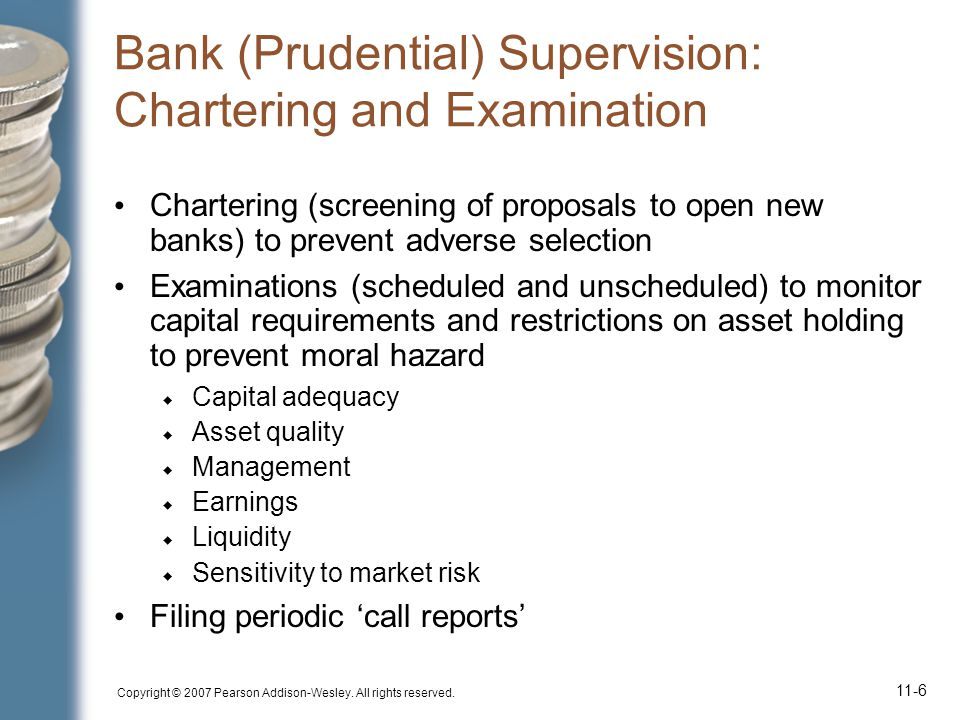 Bank (Prudential) Supervision: Chartering and Examination