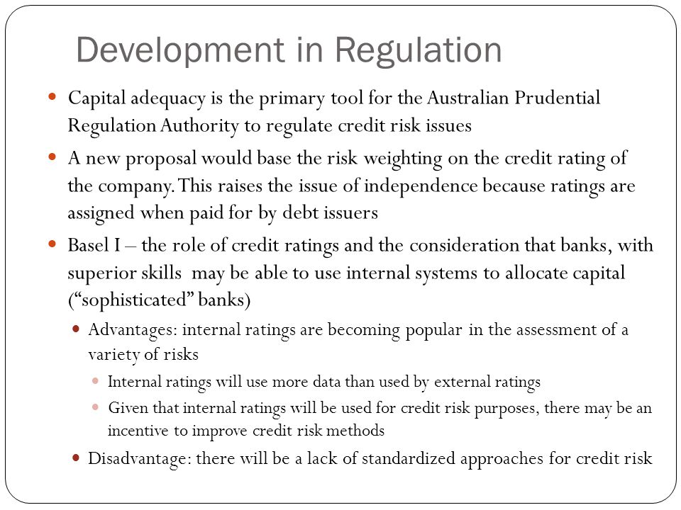 Development in Regulation