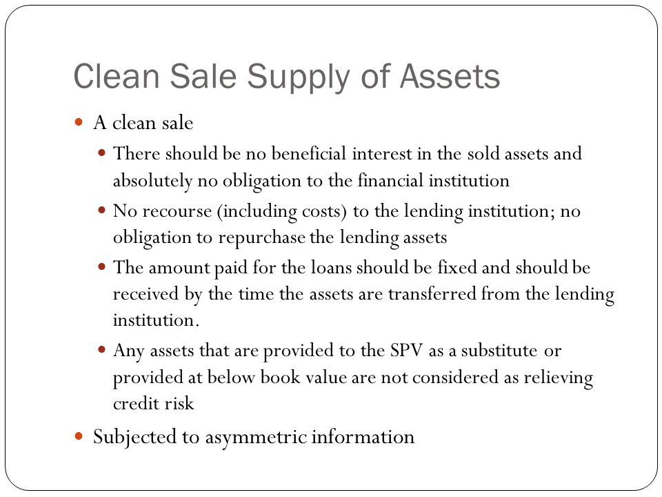 Clean Sale Supply of Assets