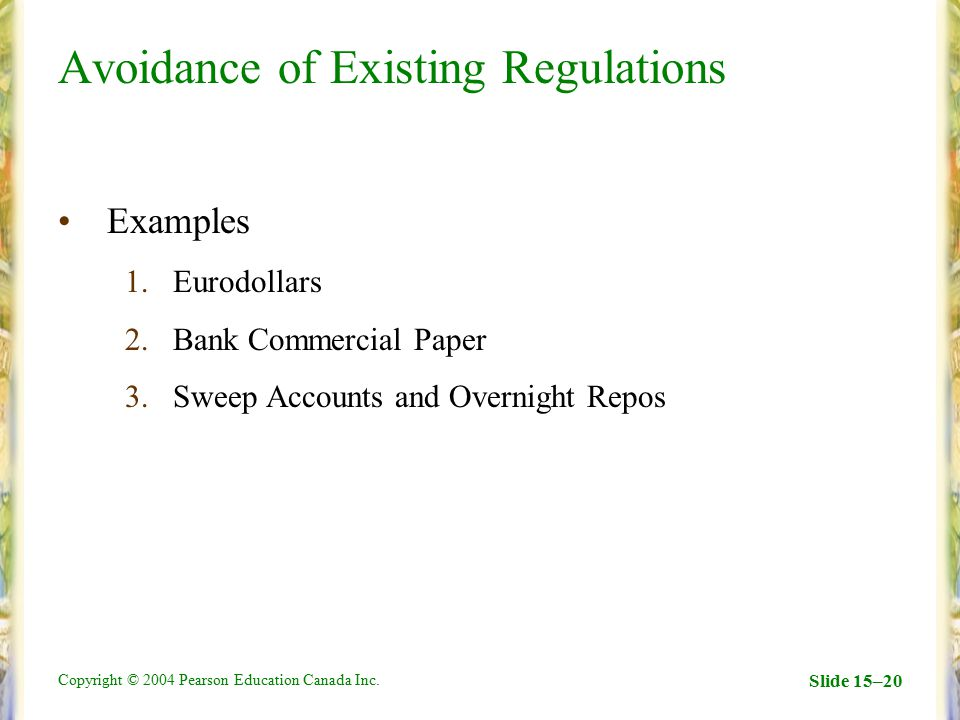 Avoidance of Existing Regulations