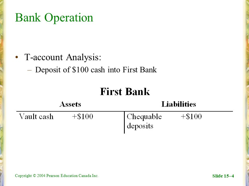 Bank Operation T-account Analysis: