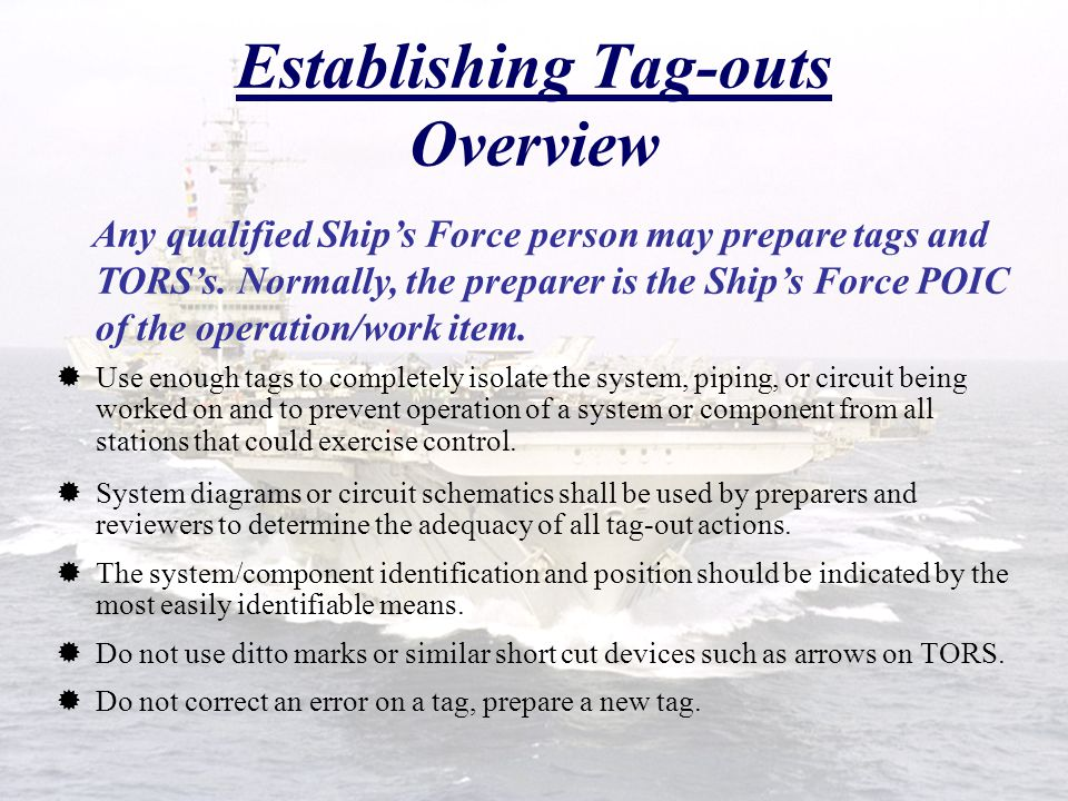 Establishing Tag-outs Overview