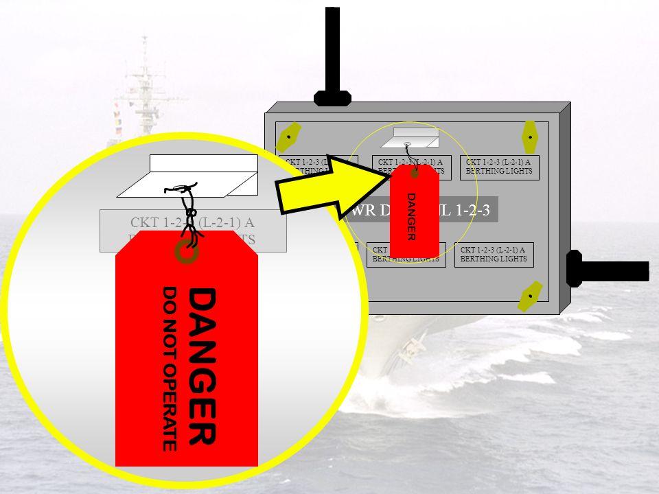 DANGER DO NOT OPERATE PWR DIST PNL 1-2-3 CKT 1-2-3 (L-2-1) A