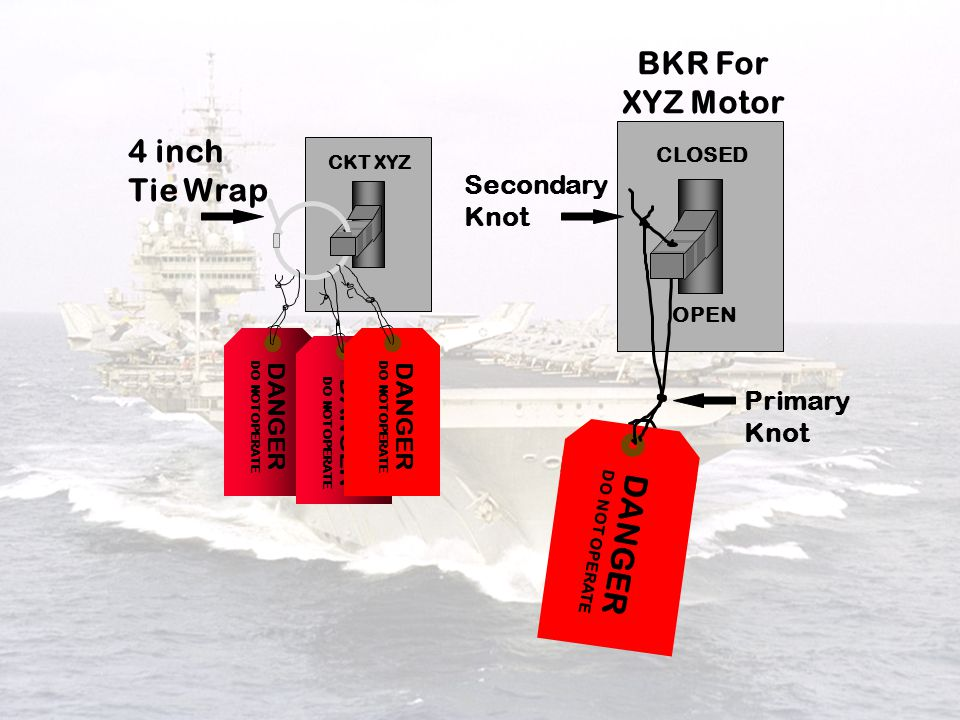BKR For XYZ Motor 4 inch Tie Wrap DANGER Secondary Knot Primary Knot