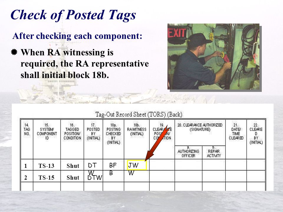 Check of Posted Tags After checking each component: