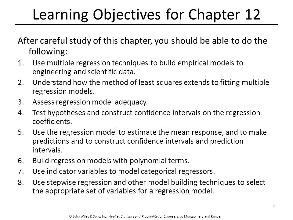 Learning Objectives for Chapter 12