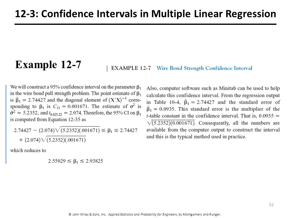 12-3: Confidence Intervals in Multiple Linear Regression