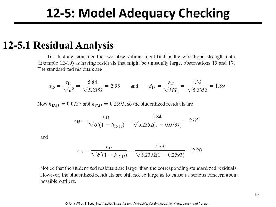 12-5: Model Adequacy Checking