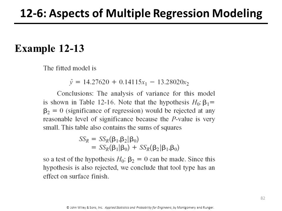 12-6: Aspects of Multiple Regression Modeling