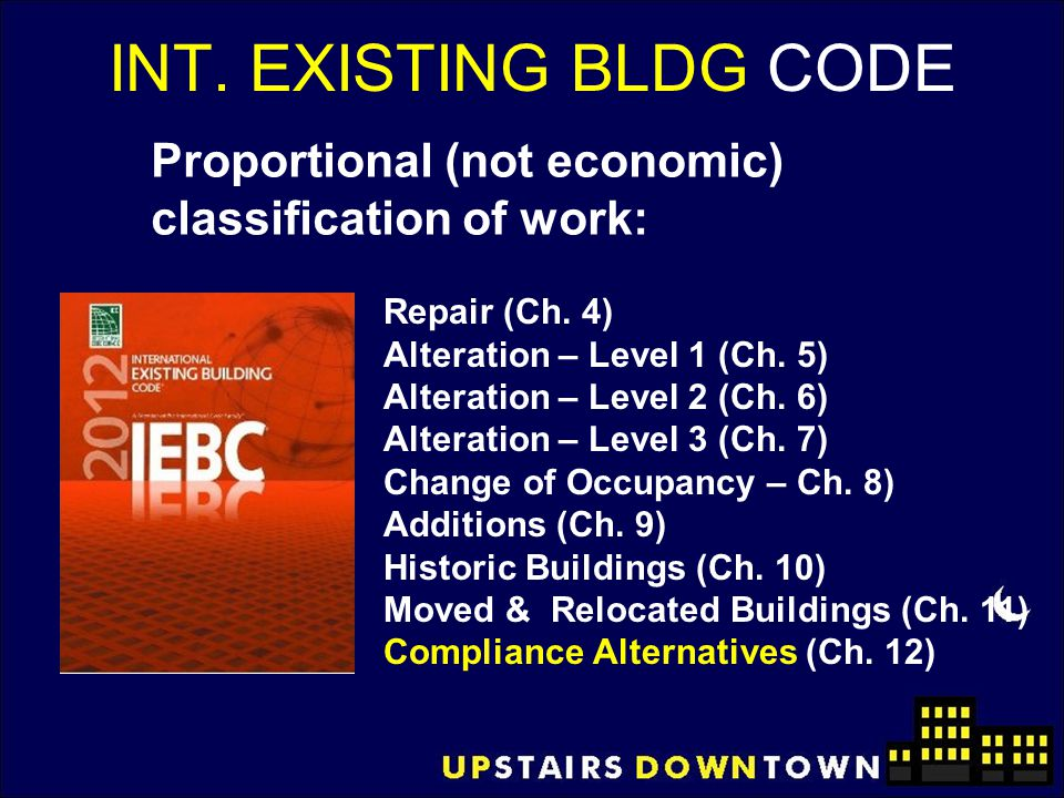 INT. EXISTING BLDG CODE Proportional (not economic) classification of work: Repair (Ch. 4) Alteration – Level 1 (Ch. 5)
