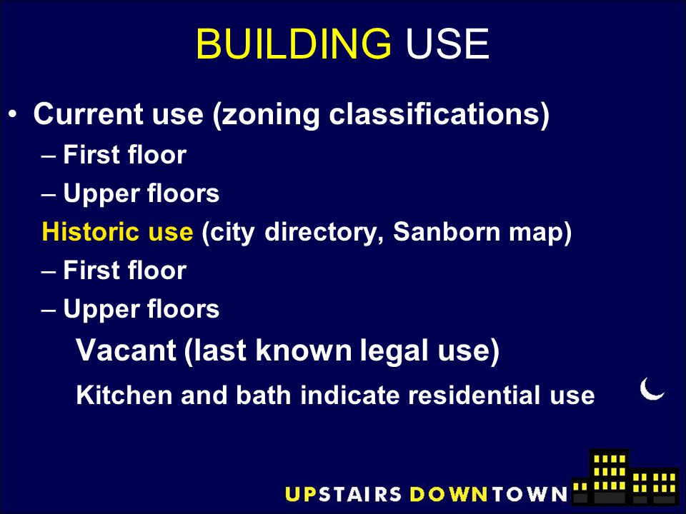 BUILDING USE Current use (zoning classifications)