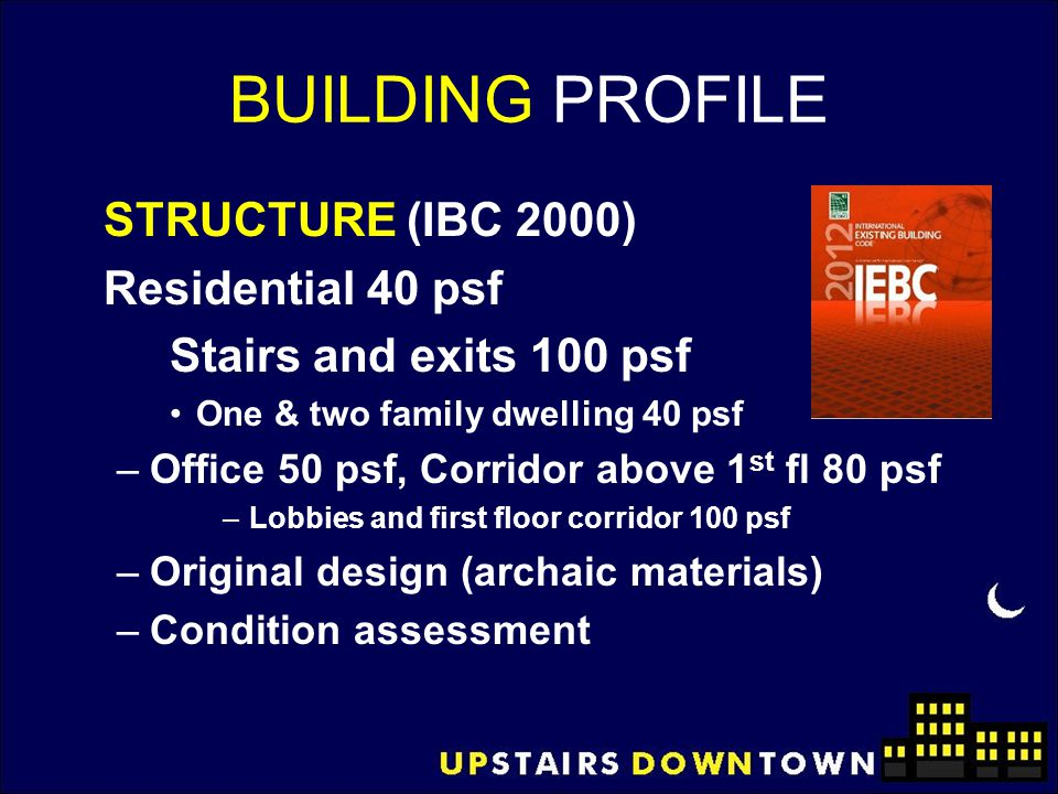 BUILDING PROFILE STRUCTURE (IBC 2000) Residential 40 psf