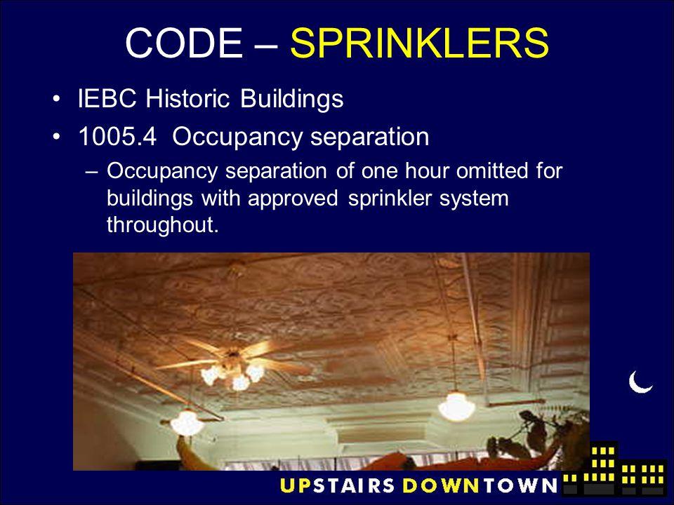 CODE – SPRINKLERS IEBC Historic Buildings 1005.4 Occupancy separation