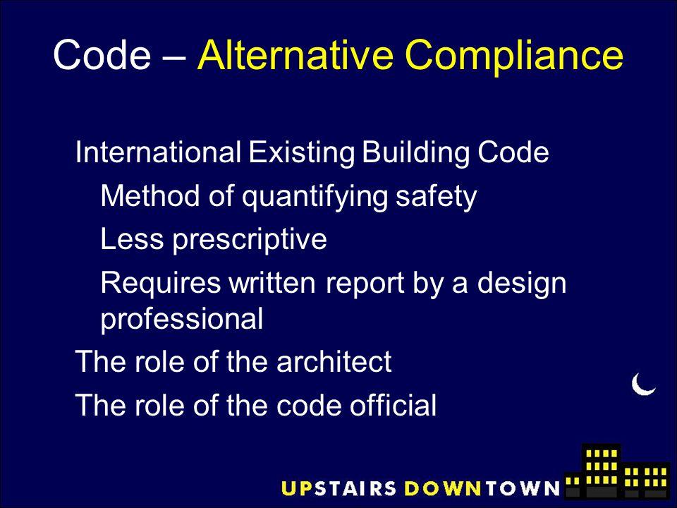 Code – Alternative Compliance