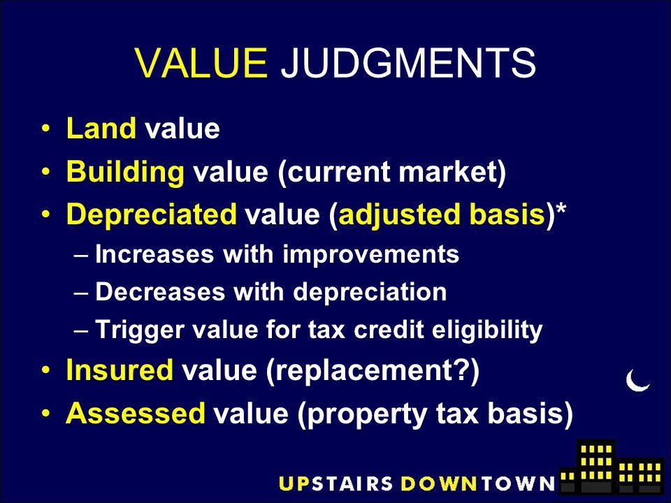 VALUE JUDGMENTS Land value Building value (current market)