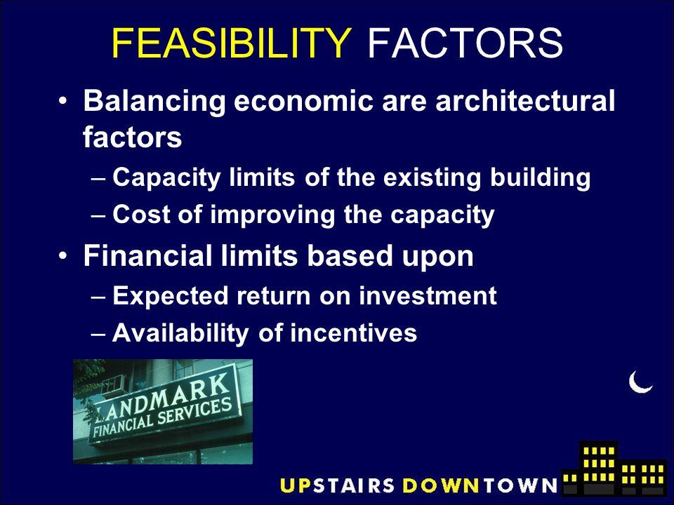 FEASIBILITY FACTORS Balancing economic are architectural factors