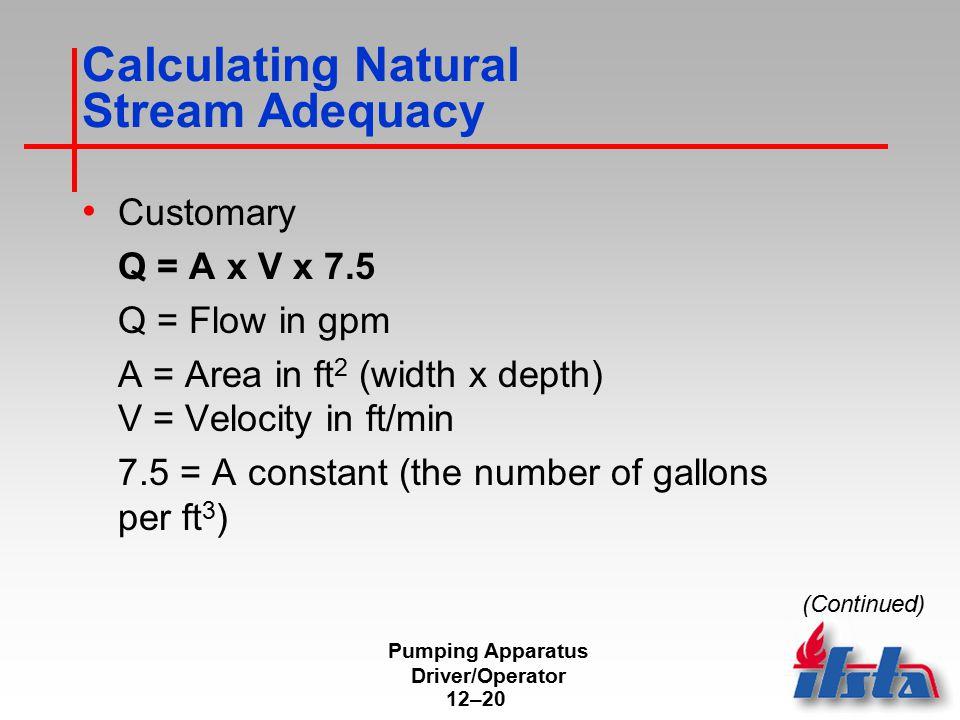 Calculating Natural Stream Adequacy